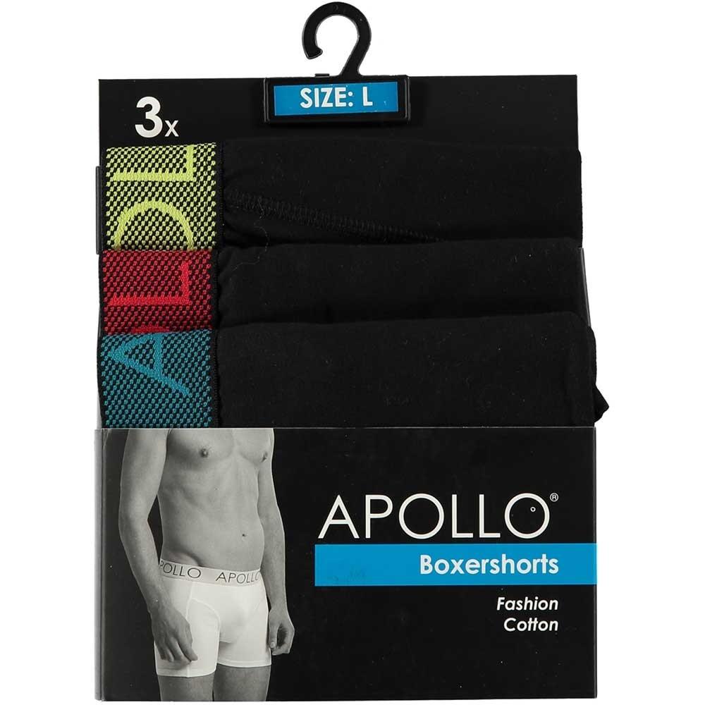 Apollo 3-pack heren boxershort Black