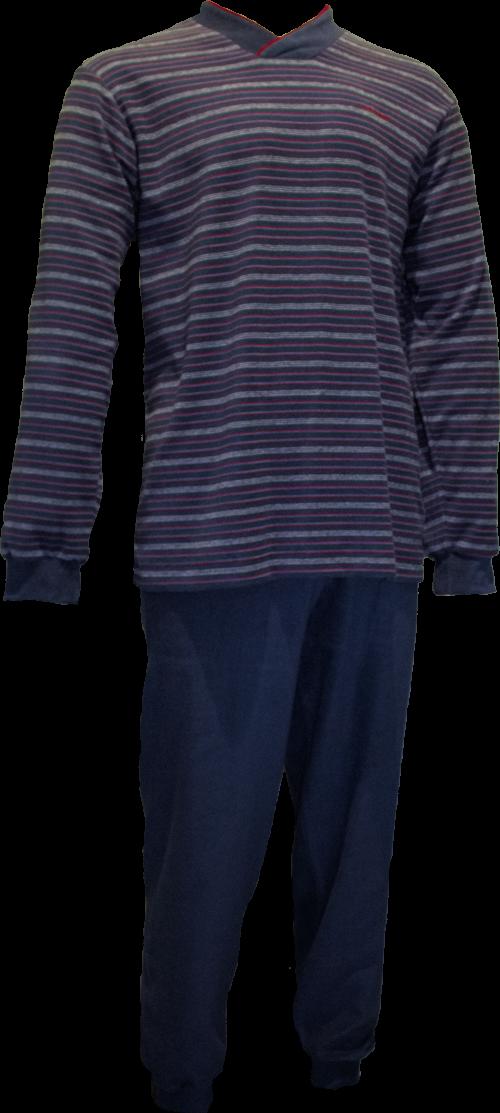 Warme Gentlemen heren pyjama 4151 V-hals, Badstof.