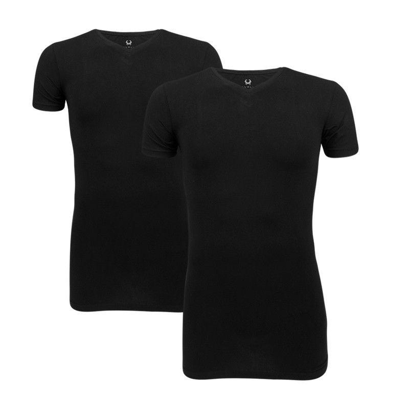 Cavello T-shirts 2-pack stretch, V-hals zwart