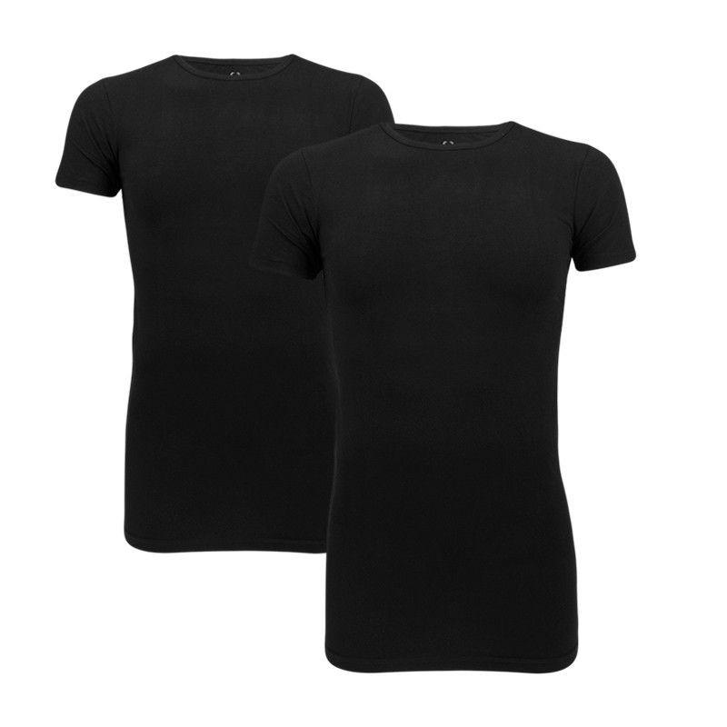 Cavello T-shirts 2-pack stretch, ronde hals zwart