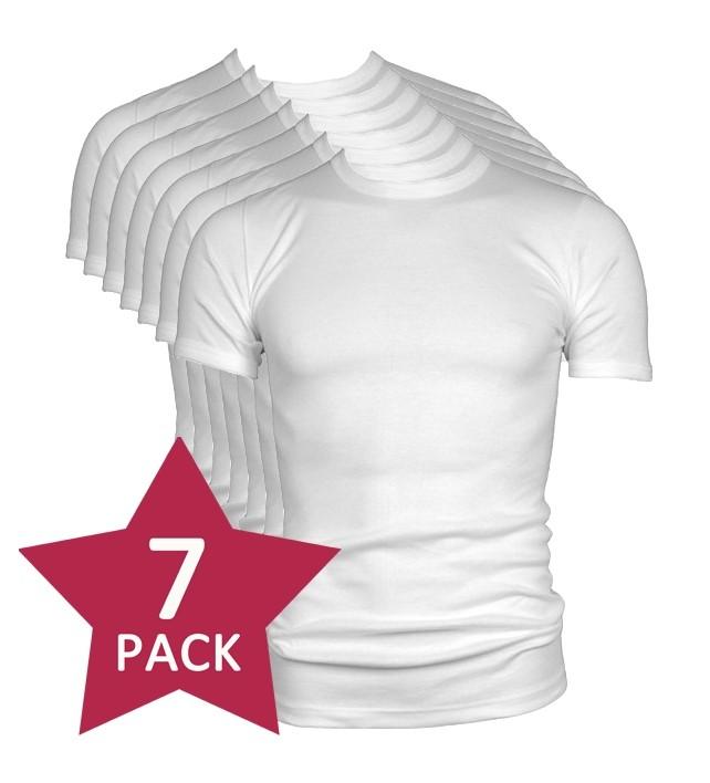 7-pack Beeren t-shirt korte mouw ronde hals wit.