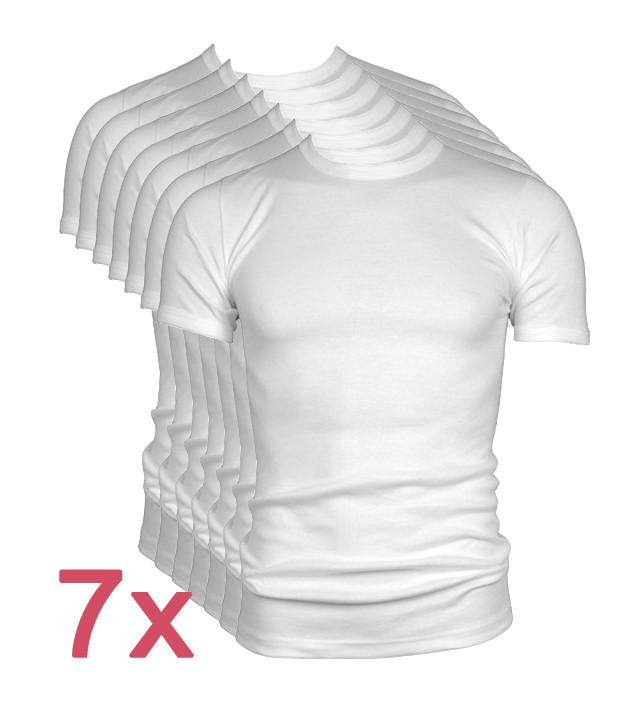 7-pack Beeren t-shirt M3000 korte mouw ronde hals wit.