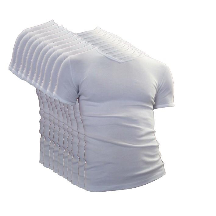Extra voordelige 10-pack Beeren t-shirt korte mouw V-hals M3000 wit.