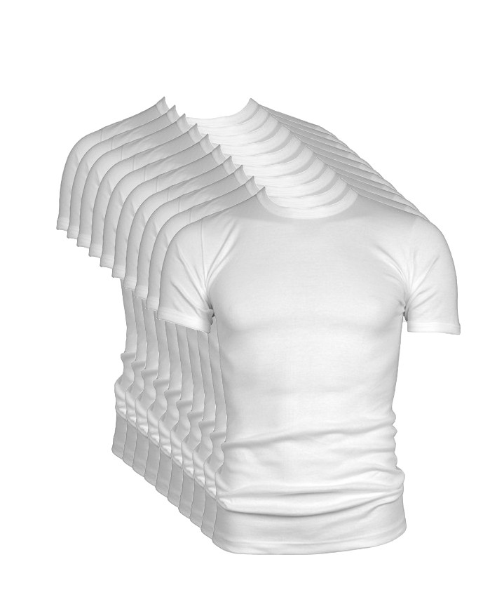 Extra voordelige 10-pack Beeren t-shirt korte mouw ronde hals wit.