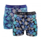 Heren boxershort J&C Royal 2-pack Citron Aqua Blue