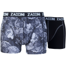 Zaccini heren boxershorts 2-pack, Flower Grey