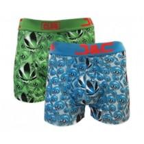 J&C Club heren boxers 2-pack print 4486 (Groen-Blauw)