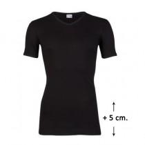 Beeren t-shirt V-hals korte mouw zwart, EXTRA lang.