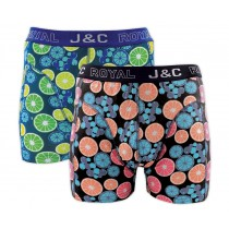 Heren boxershort J&C Royal 2-pack Citron Peach Lime