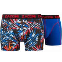 Zaccini heren boxershorts 2-pack, Leaves Red-Blue