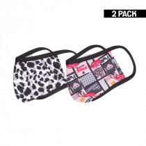 2-pack Beeren Tiener Mondkapje Leopard/Kisses