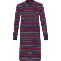 Pastunette heren nachthemd lm, stripe red-navy