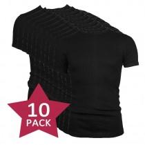 10-pack Beeren t-shirt korte mouw ronde hals Zwart.