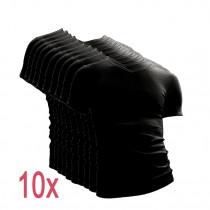 10-pack Beeren t-shirt korte mouw V-hals Zwart.