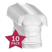 10-pack Beeren t-shirt korte mouw ronde hals wit.