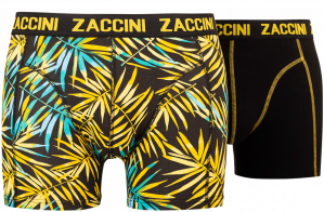 Zaccini heren boxershorts 2-pack, Leaves Yellow-Black
